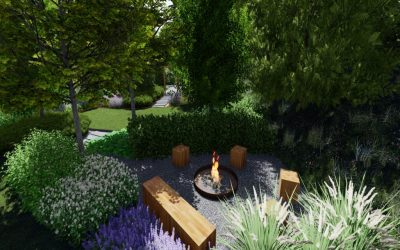 záhrada s ohniskom